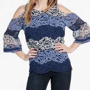 Lucky Brand blue lace cold shoulder top